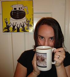Cosette, drinking coffee