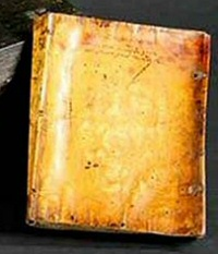 Book, presumably bound in human skin