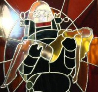 Robbie the Robot in stained glass